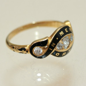 Diamond set antique mourning ring.