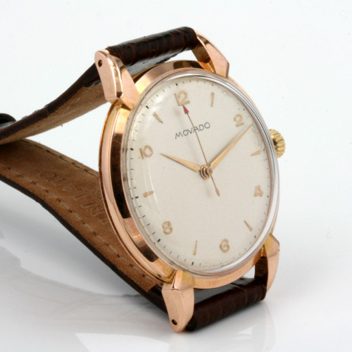 Vintage 18ct rose gold Movado watch.