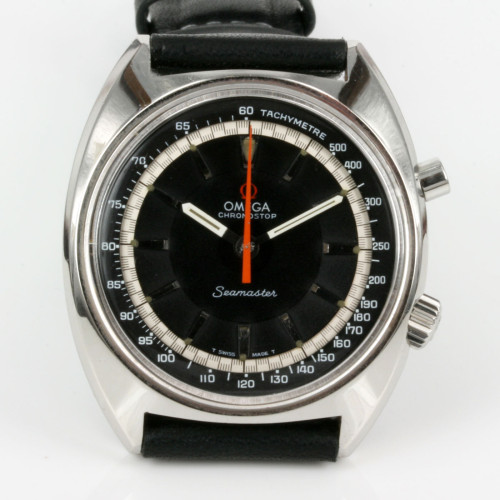 Black dial 1969 Omega Chronostop watch.