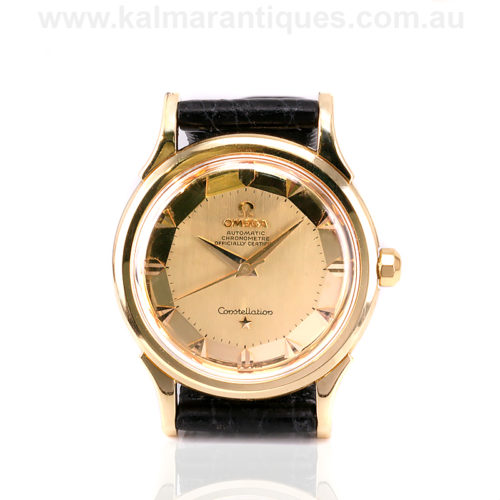 Rare pie pan dial 18ct gold Omega Constellation Deluxe watch