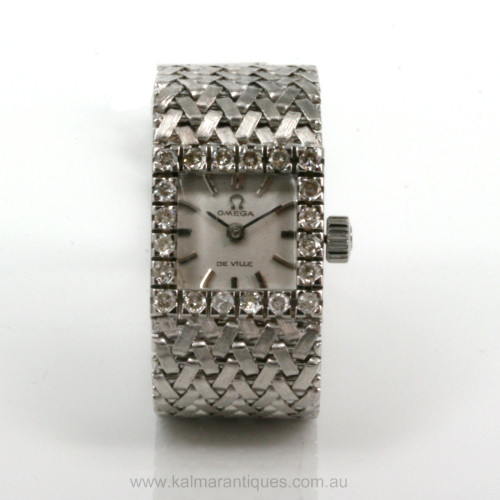 18ct Omega Deville diamond set watch.