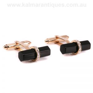14 carat gold onyx and diamond cufflinks