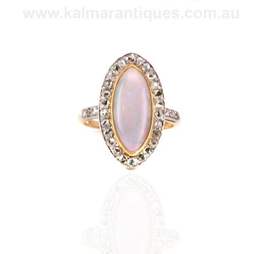 Opal and diamond art deco ring Sydney