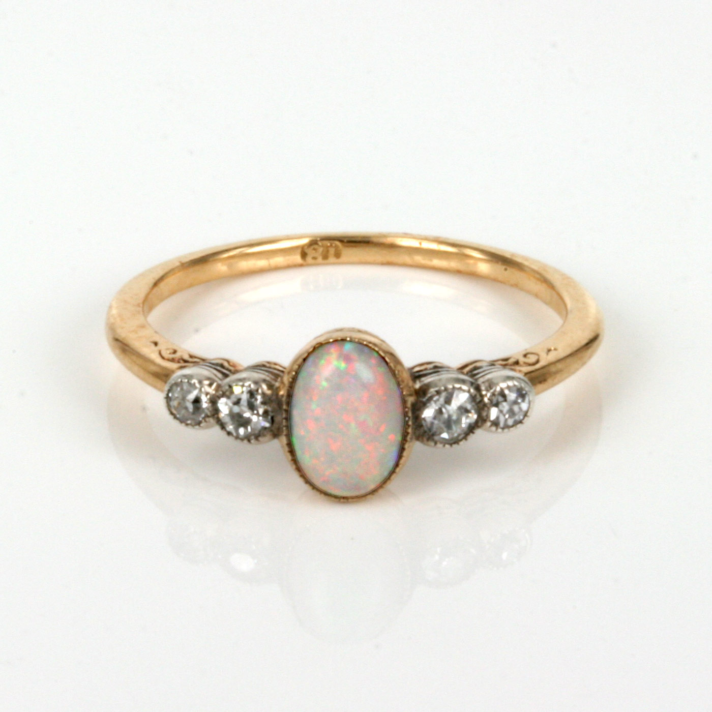 K Gold Opal Ring With Diamonds