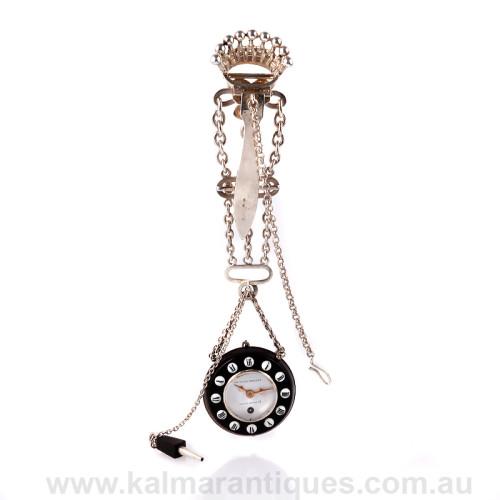 Charles Oudin ebony Chatelaine pocket watch