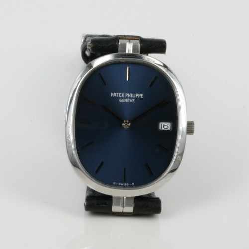 Blue dial Patek Philippe Ellipse in steel.