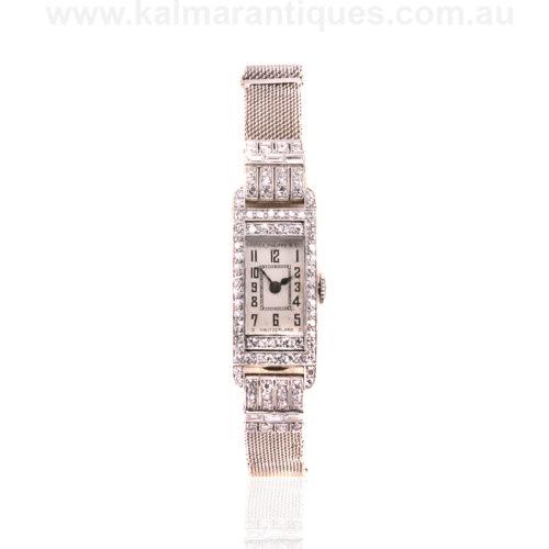 Ladies platinum diamond set Patek Philippe Art Deco watch