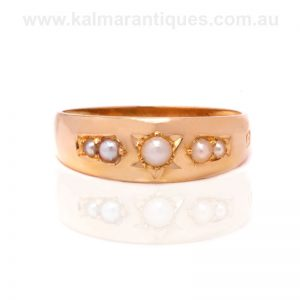 18 carat yellow gold antique pearl ring made in 1909