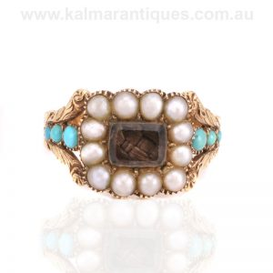 Antique Georgian turquoise and pearl ring made in the early 1800's