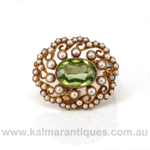 15ct gold antique peridot and pearl brooch