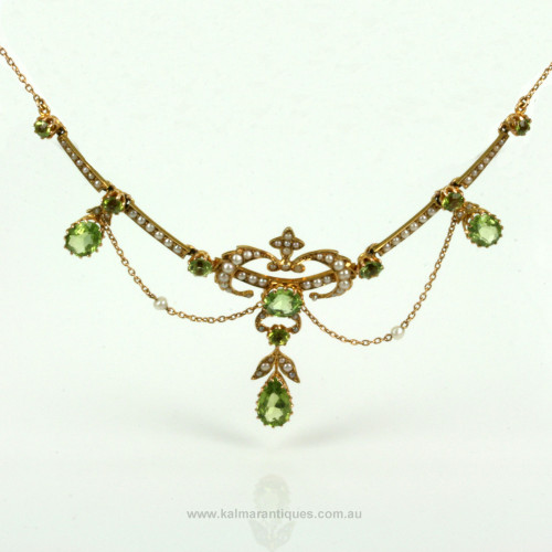 Edwaridan antique peridot and pearl necklace.