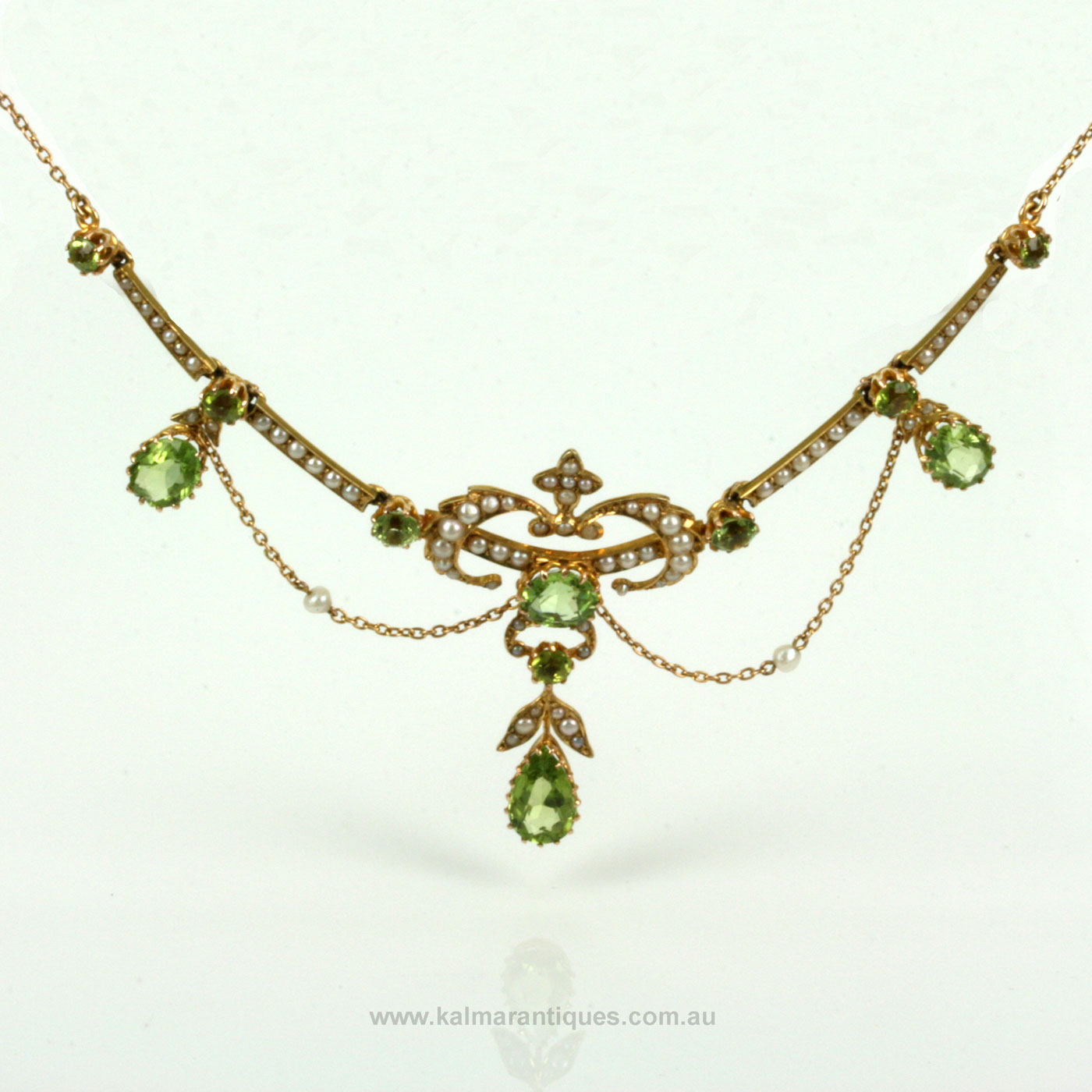 Edwardian Antique Peridot And Pearl Necklace