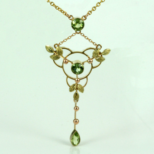 Antique rose and green gold peridot necklace.