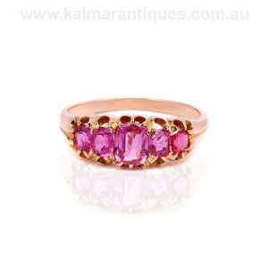 Rare 18 carat gold antique five stone pink sapphire ring