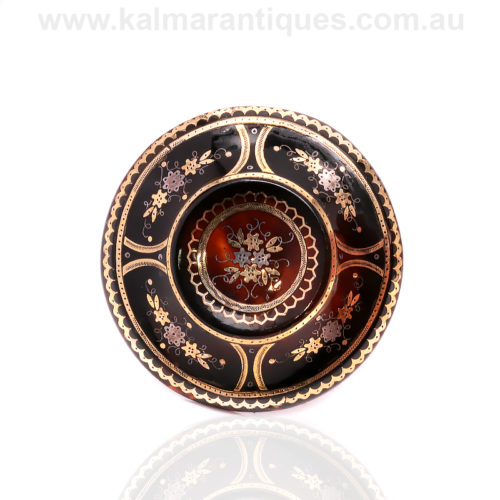 19th century Victorian era antique round pique brooch
