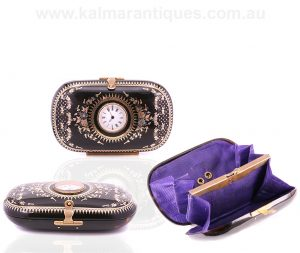 Extremely rare antique pique purse with a pocket watch