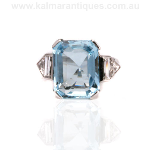 Platinum Art Deco aquamarine and diamond engagement ring