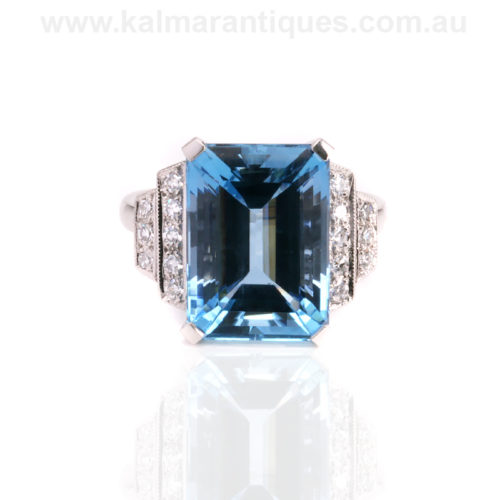Exceptional quality aquamarine and diamond ring hand made in platinum