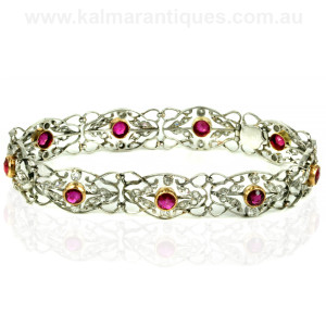 Art Deco platinum ruby and diamond bracelet