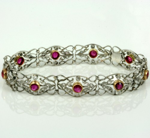 Antique platinum and gold ruby and diamond bracelet.