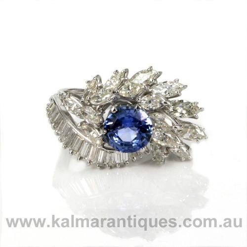 Platinum era retro sapphire and diamond ring