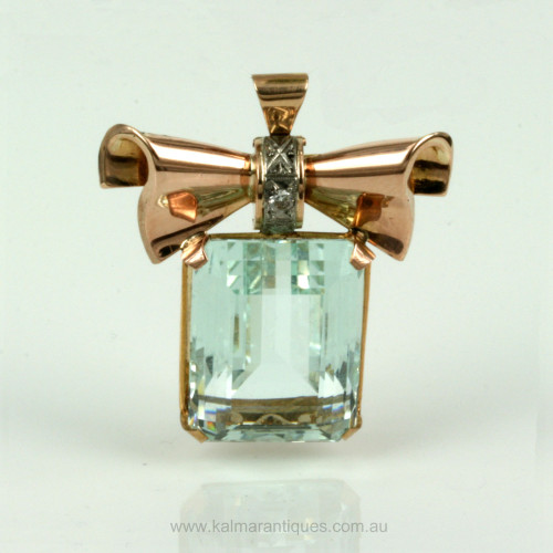 1950's retro era rose gold aquamarine brooch/pendant