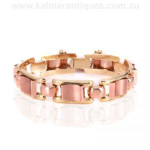 14ct rose and yellow gold Retro era bracelet
