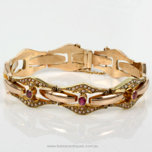 Retro 1950's rose gold ruby and pearl bracelet.
