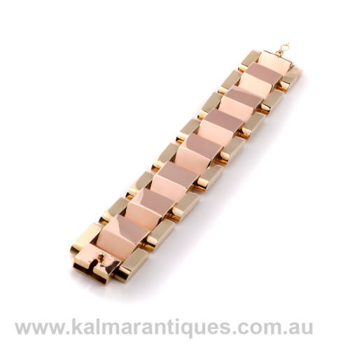Hungarian 14ct rose and yellow gold retro bracelet