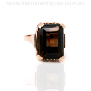 Retro smoky quartz ring