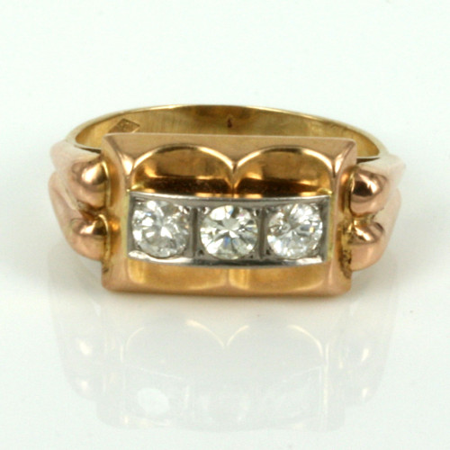 1950's retro rose gold and diamond ring