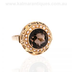 Smoky quartz and pearl Retro era ring from the 1940's