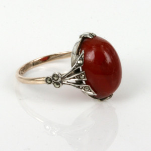 Rhoda Wager carnelian and marcasite ring.