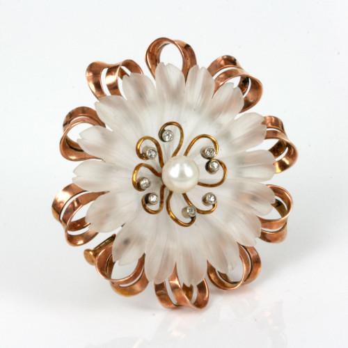 Rock crystal diamond and pearl brooch.