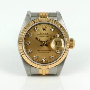 Ladies gold and steel diamond dial Rolex 69173g
