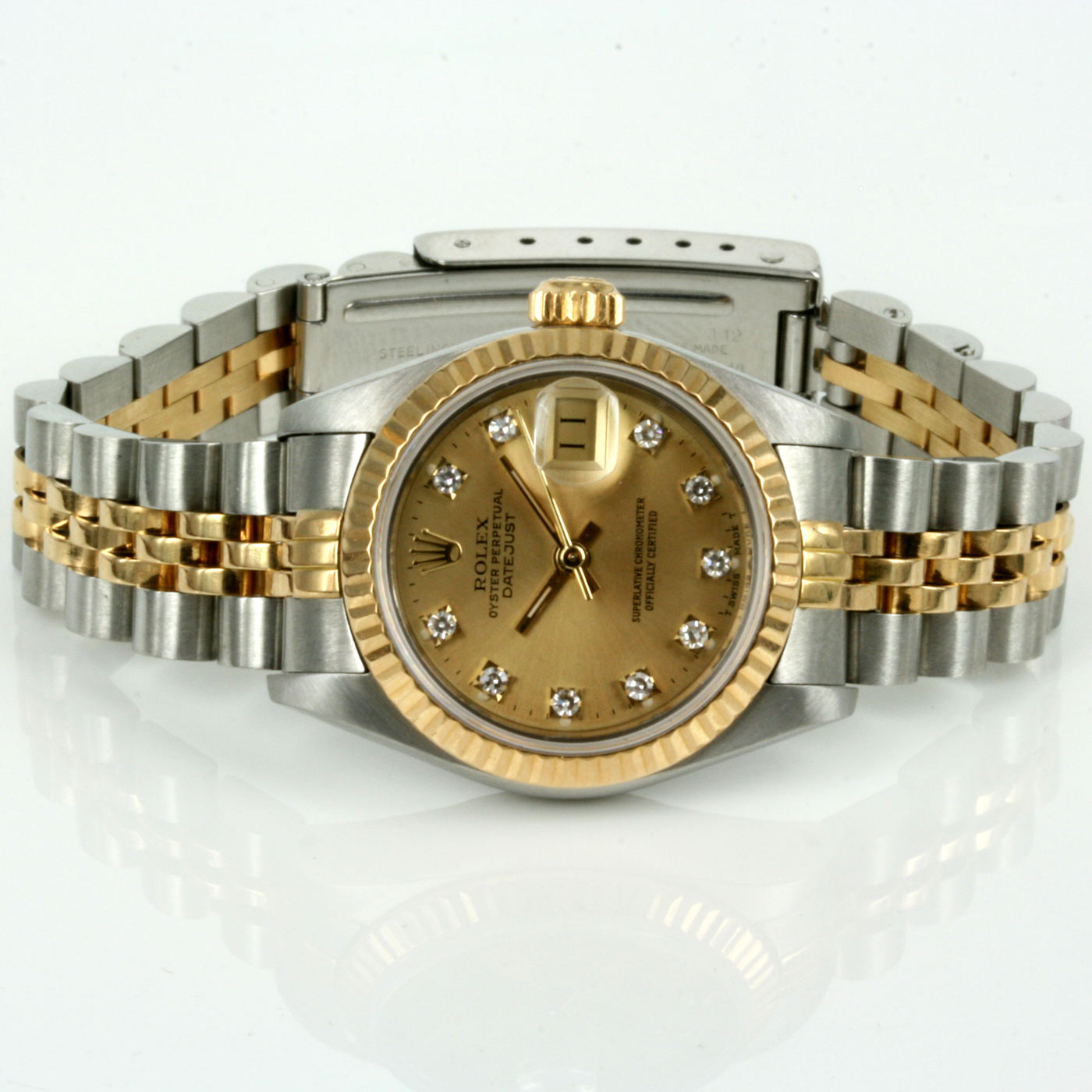hot sales 132f0 53193 Buy Ladies gold and steel diamond dial Rolex 69173g Sold ...