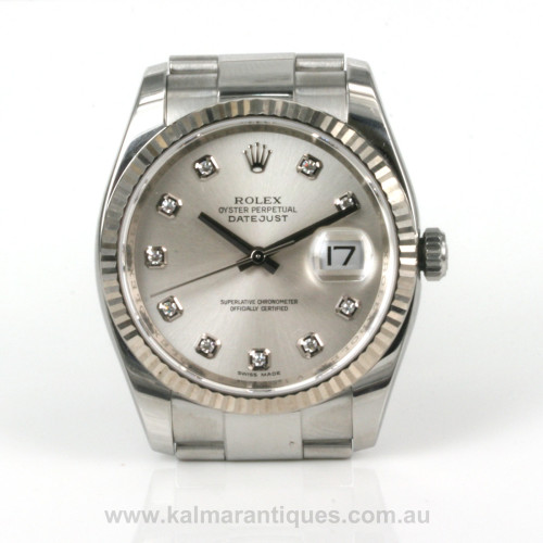 Rolex Oyster Perpetual Diamond dial datejust model 116234