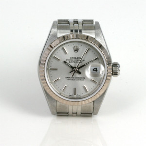Ladies Rolex Datejust watch with the gold bezel