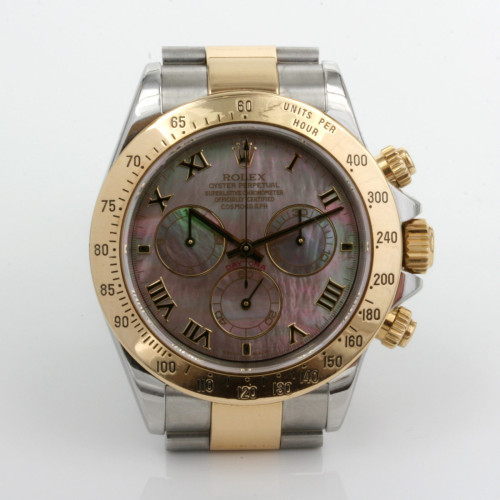 Rolex Daytona in steel & gold and mother of pearl dial.