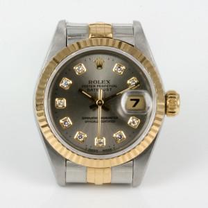 Ladies diamond dial Rolex Datejust in gold & steel.