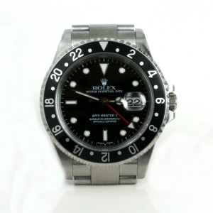 Gents steel Rolex GMT Master II with the black bezel.