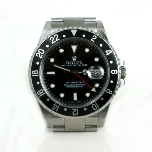 Gents steel Rolex GMT Master II with the black bezel.