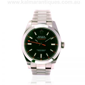 Black dial stainless steel Rolex Milgauss reference 116400