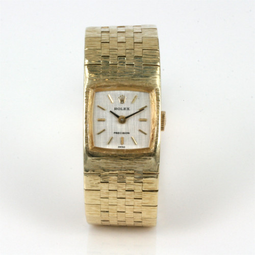 18ct gold ladies Rolex Precision watch.