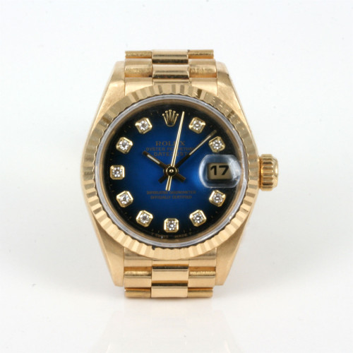 Lady's 18ct blue diamond dial Rolex President watch.