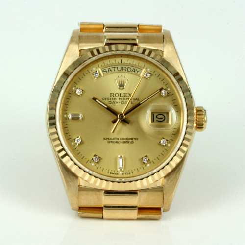 Diamond dial Rolex President watch from 1987.