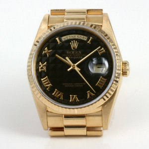 18ct Rolex President with the black pyramid dial