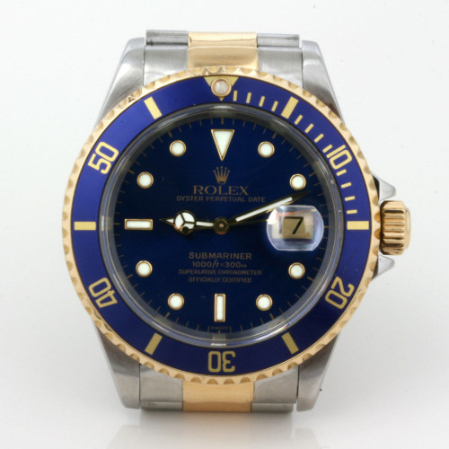 Gents 18ct & steel Rolex Submariner blue dial.