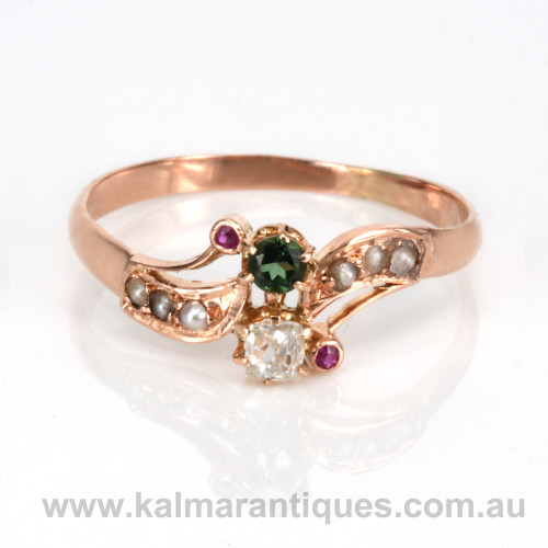 Art nouveau ring in rose gold