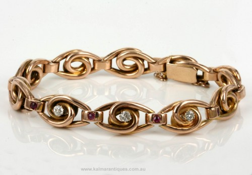 Rose gold ruby & diamond bracelet